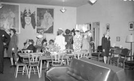 [Women gathered in the lounge of the Burrard Servicemen's centre, 636 Burrard Street]