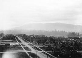 [Looking west along Georgia Street at Howe Street from the roof of the second Hotel Vancouver]