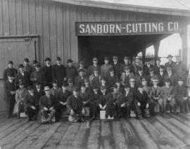 American Can Company businessmen in front of Sanbom-Cutting Co. shed