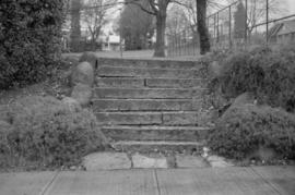Grandview Park, cut granite steps beside tennis courts on west edge of park