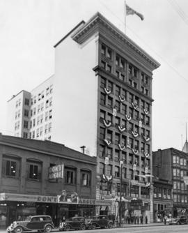 Temporary City Hall, 1929-1936, Holden Building, decorated for Golden Jubilee