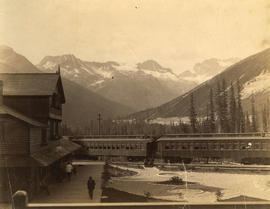 Glacier C.P.R. station, with Hermit range