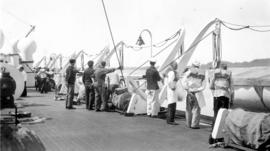 Life boat drill for crew of S.S. Prince Robert