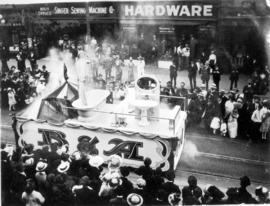 [The B and A float in the 600 Block of Granville Street during a Victoria Day parade]