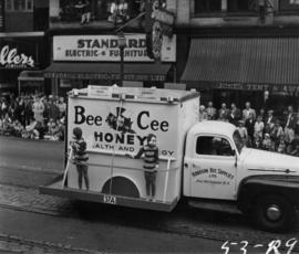 Hodgson Bee Supplies truck advertising Bee Cee Honey in 1953 P.N.E. Opening Day Parade