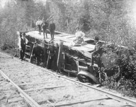 [A Westminster and Vancouver Tramway Company passenger car No. 15 overturned near Trout Lake]