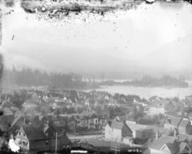 [View of West End buildings, Coal Harbour, Stanley Park and North Shore mountains, looking northw...