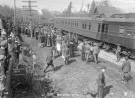 72nd Battalion [crowds at railway tracks - departure to Europe?]