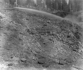 Coquitlam Dam general view of entrance channel cut looking towards headworks stake showing monito...