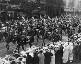 Canadian Pacific Exhibition Parade, Royal Canadian Mounted Police, Granville Street, August 26, 1936