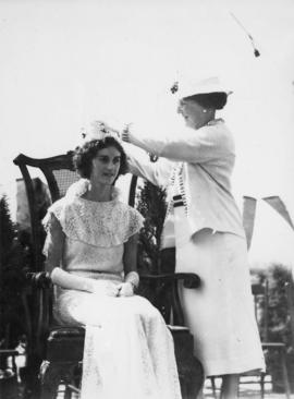 South Burnaby, Mrs. (Ald.) T.H. Kirk crowns Doris Foxhall, Aug. 14th