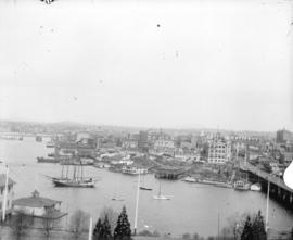 [View of Victoria, B.C., from the Parliament Buildings, showing James Bay Bridge and surrounding ...