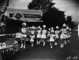 Sally Churchill's North Vancouver Community Centre Majorettes in 1953 P.N.E. Opening Day Parade