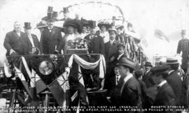 Earl Grey, Mayor Douglas & Party Aboard the First Car Crossing the New Granville St. Bridge o...