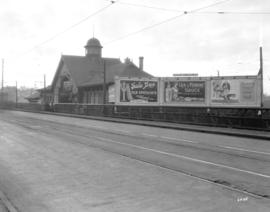 [B.C. Electric Lulu Island (Richmond) Interurban tram station on the west side of the Granville S...