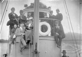 [Unidentified men on boat in Skeena River]