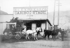 [The Royal Mail stage in front of the B.C. Express Company and Cariboo Stage building]