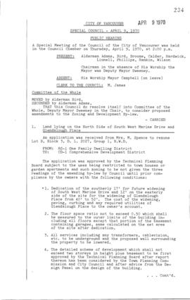 Special Council Meeting Minutes : Apr. 9, 1970