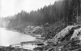 Coquitlam Dam looking south from tunnel showing clearing