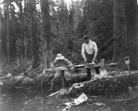 [Two men preparing a meal in a logging camp]