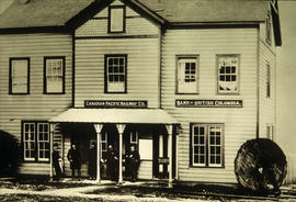 The first C.P.R. depot and offices on Cordova Street near Richards Street