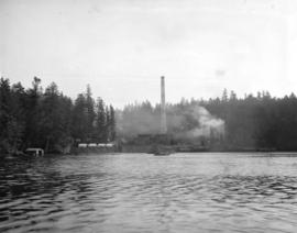 [View of construction of Brentwood Bay Steam Plant from inlet]
