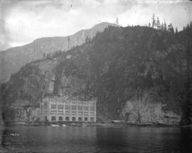 [Partially constructed Buntzen Lake Power Plant number two, viewed from Indian Arm]