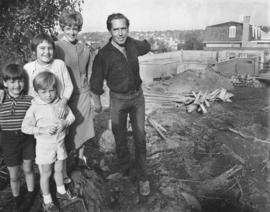 [Alderman Thomas Campbell and family in front of house under construction at 2290 West 32nd Ave.]