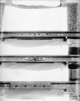 [Three rail joints, showing various types of rail bonds]