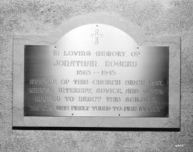 [Memorial plaque to Jonathan Rogers at St. Andrews-Wesley Church]