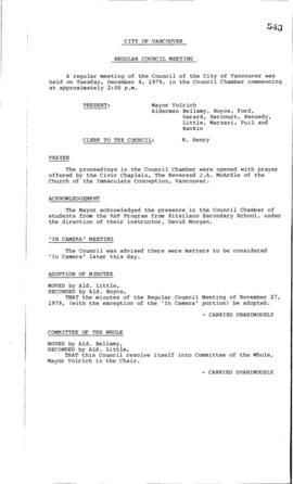 Council Meeting Minutes : Dec. 4, 1979