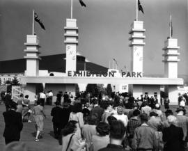 Crowd at main entrance gate to Exhibition Park