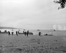 [Troops and boats landing at Kitsilano Beach during war games exercises]