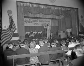 [Man addressing an audience at the Seamen's Club]
