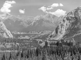 [View of the Bow River Valley, Banff Springs Hotel and Rocky Mountains]