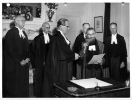 Sherwood Lett being sworn in as Chief Justice of the Supreme Court of British Columbia
