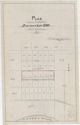 Plan shewing subdivision of District Lot 200. South Vancouver, B.C.