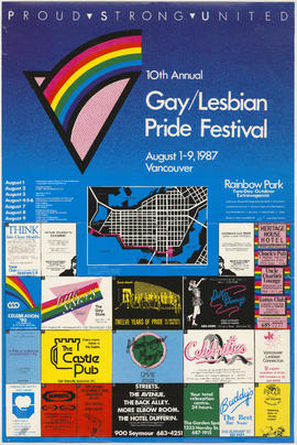 10th annual gay/lesbian pride festival : August 1-9, 1987 : Vancouver :  Rainbow Park two-day out...