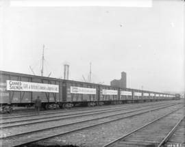 "[Freight cars on railway track with signs reading ""Canned salmon. Gift of British Columbia t..."