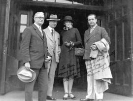 [Group portrait showing Mayor L.D. Taylor with actress Diana Hughes and two men]