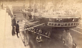 "[H.M.S. ""Cormorant"" in dry dock]"