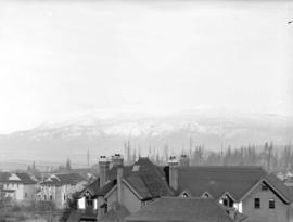 [View of houses and Alexandra Orphanage in Kitsilano, and North Shore mountains, from Seventh Ave...