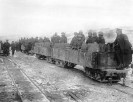 [Soldiers and small ammunition train on Western Front]