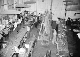 [Interior view of Boeing aircraft plant on Georgia Street]