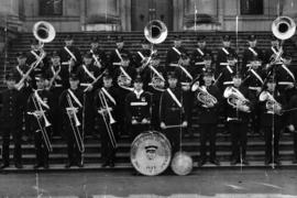 [Group portrait of Firemen's Band of Vancouver in front of Court House]