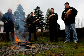 Tseil'Waututh drummers at Flame Creation ceremony