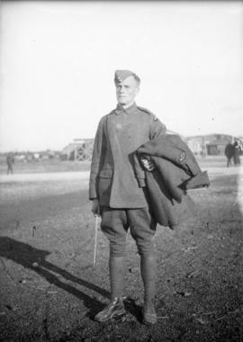 J.C. [James Crookall] in R.F.C. [Royal Flying Corps] Headquarters, [N. Toronto?]