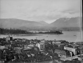 View from Vancouver Hotel looking north over the city to Coal Harbour towards Deadman's Isla...