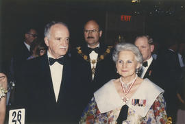 Unidentified man, Mike Harcourt and Jeanne Sauvé attend the Centennial Ball