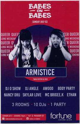 Babes on babes : Sunday, July 2 : Armistice, twin sister DJ duo : Fortune Sound Club